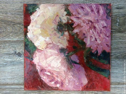 Картины цветов ручной работы. Ярмарка Мастеров - ручная работа. Купить Пионы. Handmade. Разноцветный, картина маслом на холсте, мастихин