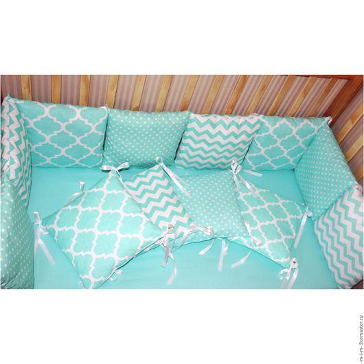 Детская ручной работы. Ярмарка Мастеров - ручная работа. Купить Бортики-подушки в детскую кроватку. Handmade. Комбинированный, бортики подушки