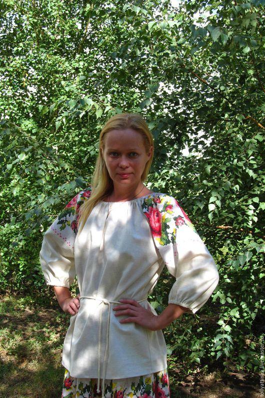 """Одежда ручной работы. Ярмарка Мастеров - ручная работа. Купить Блуза в фольклорном стиле """"Цветочная"""". Handmade. Комбинированный"""