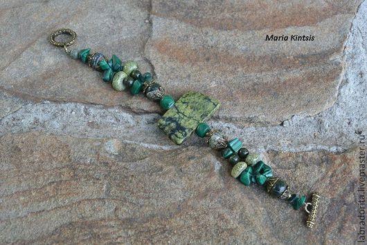 """Браслеты ручной работы. Ярмарка Мастеров - ручная работа. Купить браслет """"Мох"""". Handmade. Тёмно-зелёный, бохо стиль"""