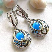 Украшения handmade. Livemaster - original item Silver filigree earrings with cat`s eye.. Handmade.