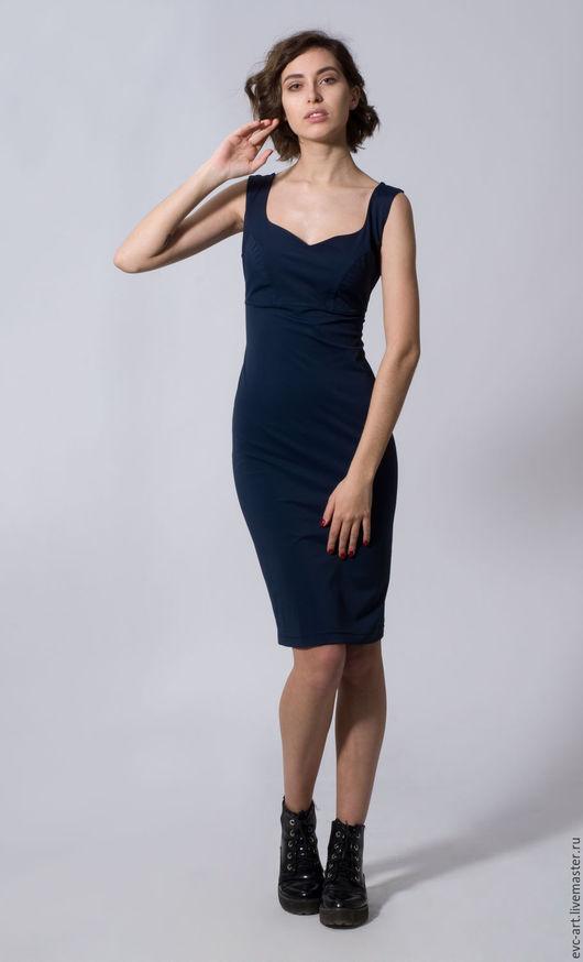 Платья ручной работы. Ярмарка Мастеров - ручная работа. Купить платье футляр темно синее. Handmade. Тёмно-синий, эластан