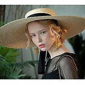Аксессуары handmade. Livemaster - original item Straw boater hat with very large brim. Handmade.