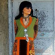 Одежда ручной работы. Ярмарка Мастеров - ручная работа Платье макси с натуральной кожей (№344). Handmade.