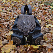 """Сумки и аксессуары handmade. Livemaster - original item Leather backpack """"SPIRIT OF THE WOLF"""". Handmade."""