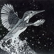 Картины и панно handmade. Livemaster - original item Painting with a bird in flight painting in pencil. Handmade.