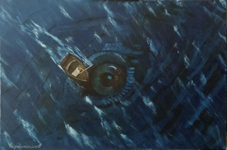 Фантазийные сюжеты ручной работы. Ярмарка Мастеров - ручная работа. Купить Морское чудовище. Handmade. Море, лодка, морская волна