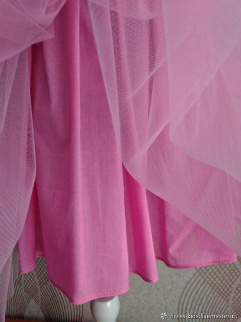 Розовое платье с кружевом