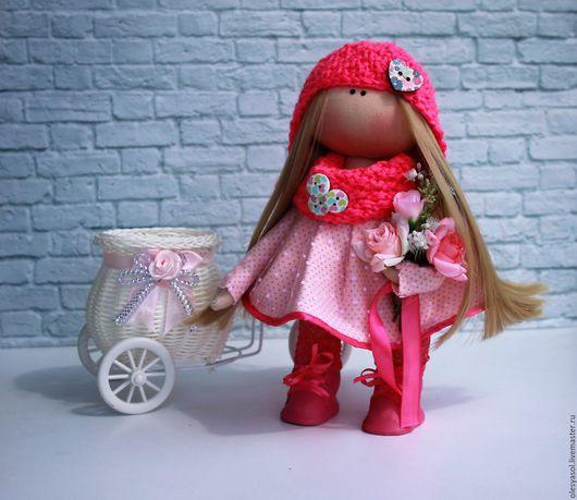 Куклы тыквоголовки ручной работы. Ярмарка Мастеров - ручная работа. Купить Интерьерная куколка Розочка. Handmade. Розовый, интерьерная кукла