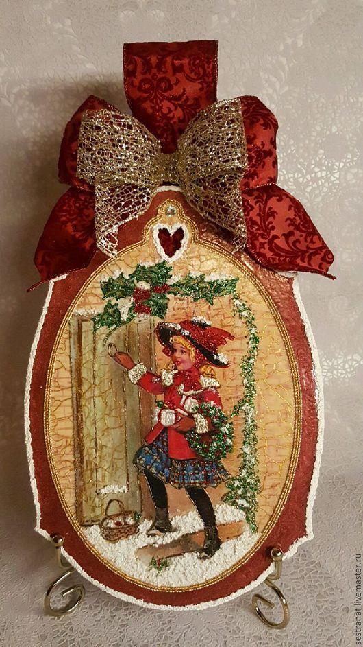 """Новый год 2017 ручной работы. Ярмарка Мастеров - ручная работа. Купить Рождественское панно """"С Рождеством"""". Handmade. Подарок"""