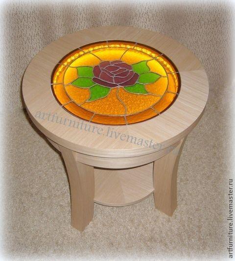 Мебель ручной работы. Ярмарка Мастеров - ручная работа. Купить Круглый журнальный столик с подсветкой Чайная Роза. Handmade.
