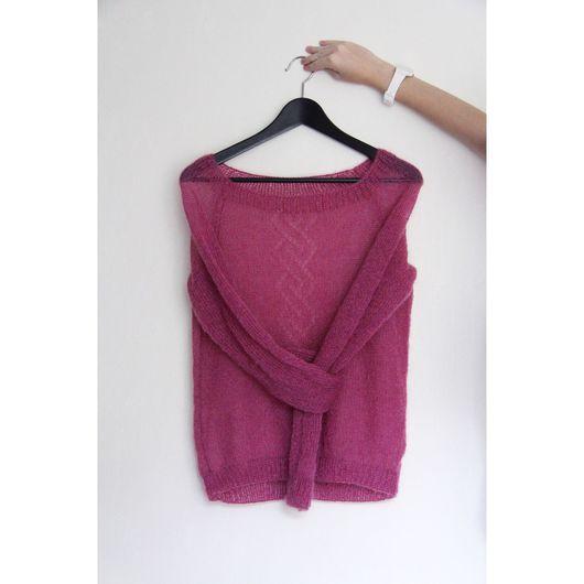 Кофты и свитера ручной работы. Ярмарка Мастеров - ручная работа. Купить Невесомый свитер из кид мохера. Handmade. Вязание спицами