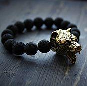 Украшения handmade. Livemaster - original item Bracelet made of lava with bronze bear. Handmade.