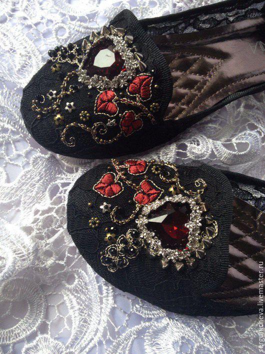 """Обувь ручной работы. Ярмарка Мастеров - ручная работа. Купить Слиперы""""Ruby Heart""""в стиле DG. Handmade. Слиперы, стильная обувь"""