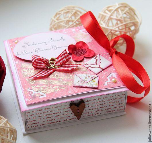 """Подарочная упаковка ручной работы. Ярмарка Мастеров - ручная работа. Купить Подарочная коробочка """"Про любовь"""". Handmade. Ярко-красный"""