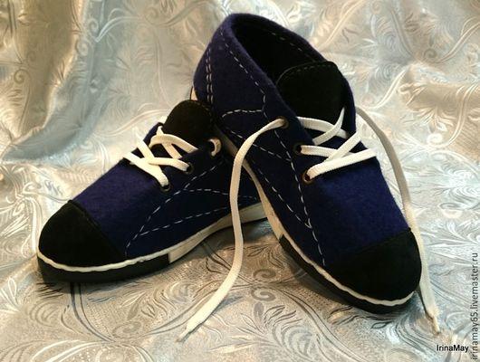 """Обувь ручной работы. Ярмарка Мастеров - ручная работа. Купить Мужские кеды """"Чемпион"""". Handmade. Тёмно-синий, летняя обувь"""