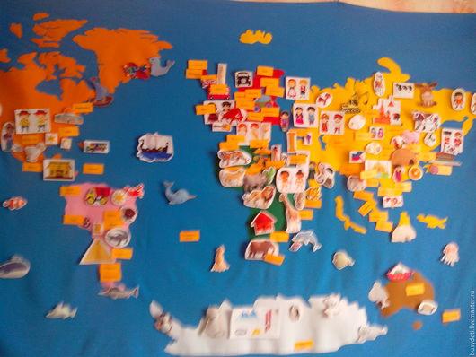 Развивающие игрушки ручной работы. Ярмарка Мастеров - ручная работа. Купить Карта мира из фетра. Handmade. Комбинированный, атлас