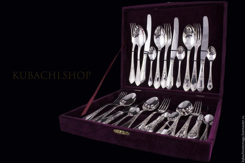 Table set No. №1 silver. Kubachi, Spoons, Moscow,  Фото №1