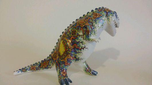 """Статуэтки ручной работы. Ярмарка Мастеров - ручная работа. Купить Статуэтка """"Динозавр с позолотой """". Handmade. Динозавр, украшение интерьера"""
