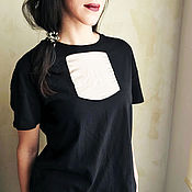 Одежда handmade. Livemaster - original item Women`s loose t-shirt black with insert. Handmade.