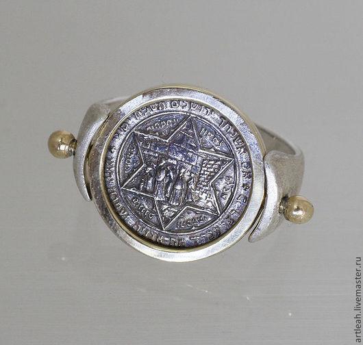 Кольца ручной работы. Ярмарка Мастеров - ручная работа. Купить Серебряное с золотом кольцо со звездой Давида. Handmade.
