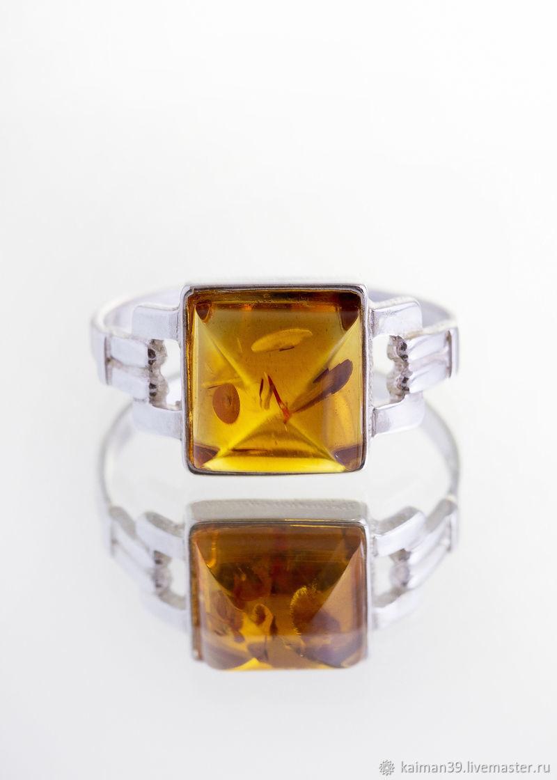 Кольцо из серебра и натурального балтийского янтаря, Кольца, Калининград,  Фото №1