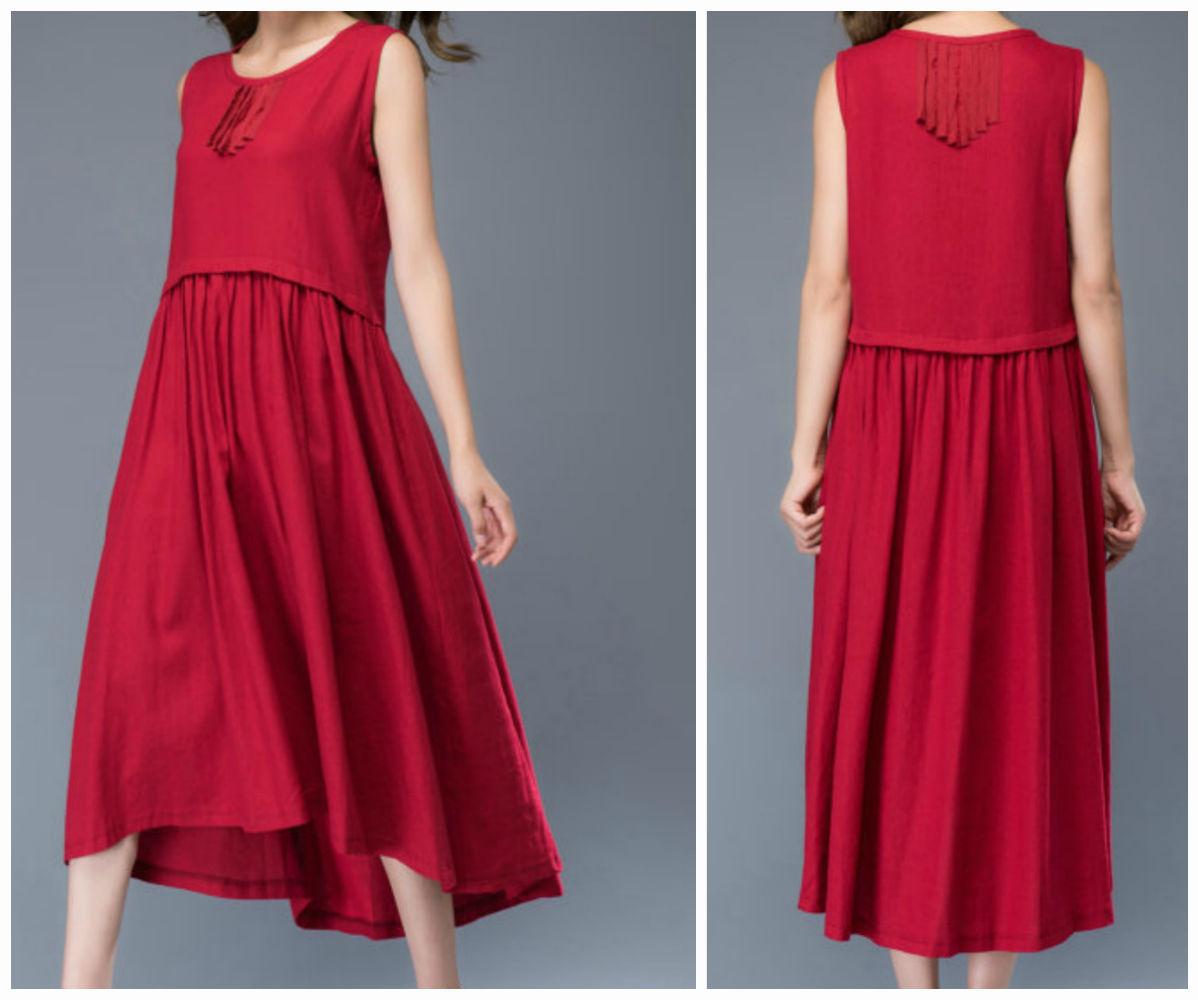 Хлопковое красное платье