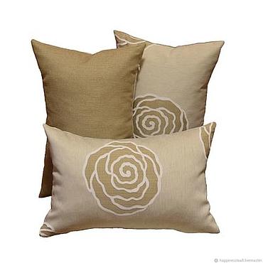 """Для дома и интерьера ручной работы. Ярмарка Мастеров - ручная работа Комплект """"Розы"""" из 3-х декоративных дизайнерских подушек. Handmade."""