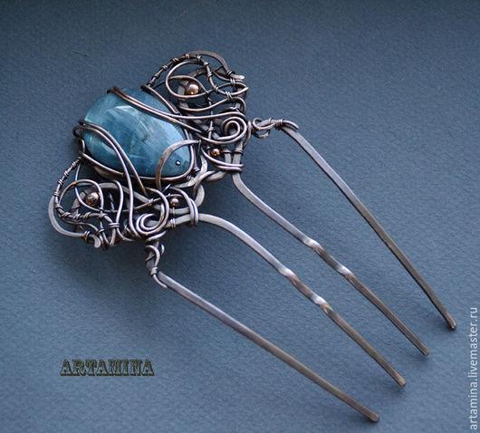 Заколки ручной работы. Ярмарка Мастеров - ручная работа. Купить Медный гребень с лабрадоритом. Handmade. Голубой, wire wrap