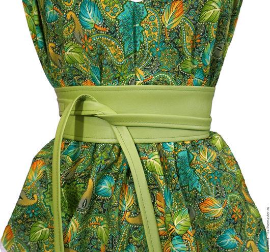 Пояса, ремни ручной работы. Ярмарка Мастеров - ручная работа. Купить Пояс оби, светло-зеленый. Handmade. Однотонный