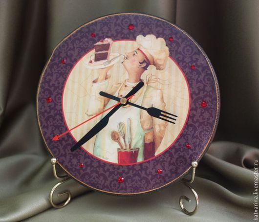 """Часы для дома ручной работы. Ярмарка Мастеров - ручная работа. Купить Часы """"Повар-кондитер"""". Handmade. Темно-серый"""