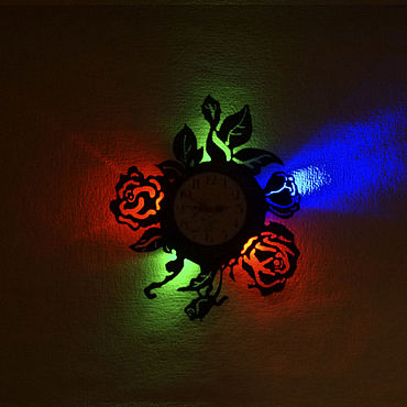 For home and interior handmade. Livemaster - original item Wall clock with led light from the plate Flowers. Handmade.
