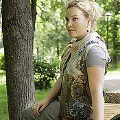 Одежда ручной работы. Ярмарка Мастеров - ручная работа Валяный жилет Лесные цветы. Handmade.
