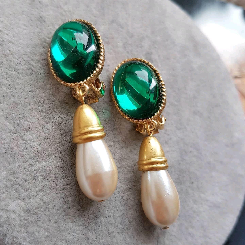 Hobe clip-on earrings, American vintage, Vintage earrings, St. Petersburg,  Фото №1
