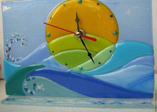 """Часы для дома ручной работы. Ярмарка Мастеров - ручная работа. Купить Настольные часы """"Морской рассвет"""". Handmade. Часы настольные"""