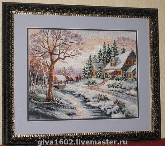 """Пейзаж ручной работы. Ярмарка Мастеров - ручная работа. Купить Картина """"Зима"""", ручная вышивка. Handmade. Вышивка, Вышитая картина"""