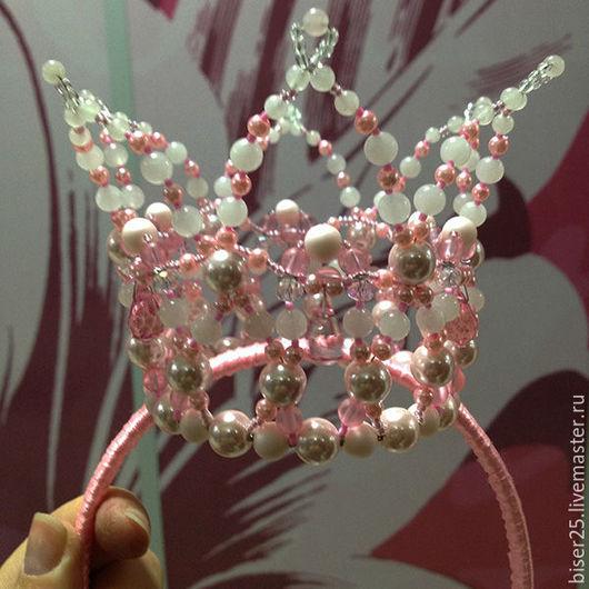 Диадемы, обручи ручной работы. Ярмарка Мастеров - ручная работа. Купить Корона для маленькой принцессы (розовая). Handmade. Розовый