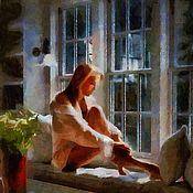 Картины и панно ручной работы. Ярмарка Мастеров - ручная работа Бессонница 50х60см, сюжетная картина, живопись. Handmade.