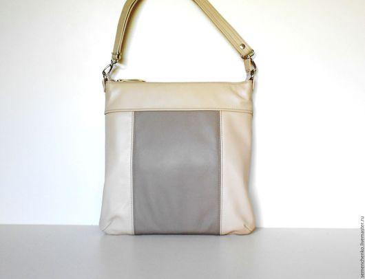 Женские сумки ручной работы. Ярмарка Мастеров - ручная работа. Купить Сумка-планшет летняя, комбинированная из натуральной кожи. Handmade.