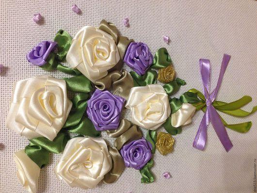 Картины цветов ручной работы. Ярмарка Мастеров - ручная работа. Купить Букет из роз. Handmade. Сиреневый, рамка, вышивка, сиреневый