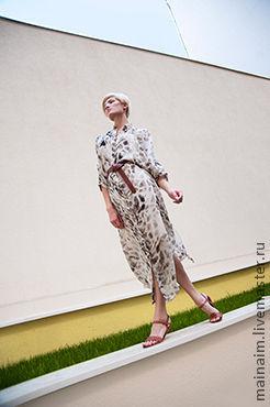 Пляжные платья ручной работы. Ярмарка Мастеров - ручная работа. Купить шелковое платье. Handmade. Звериная расцветка, пляжное платье