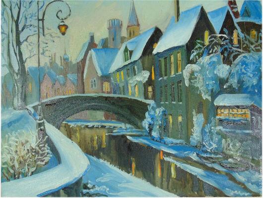 Город ручной работы. Ярмарка Мастеров - ручная работа. Купить Город с мостом.. Handmade. Разноцветный, картина на холсте