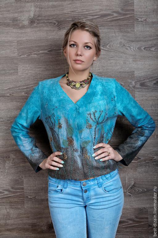 """Пиджаки, жакеты ручной работы. Ярмарка Мастеров - ручная работа. Купить Жакет """"Прованские травы"""". Handmade. Голубой, шёлк натуральный"""