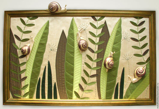 Пейзаж ручной работы. Ярмарка Мастеров - ручная работа. Купить Картина из ткани Улитки. Handmade. Картина из ткани, ткань