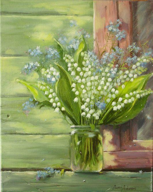 Картины цветов ручной работы. Ярмарка Мастеров - ручная работа. Купить Ландыши на зеленой стене. Handmade. Салатовый, майские цветы