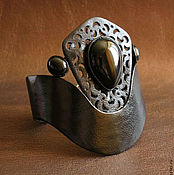 Украшения ручной работы. Ярмарка Мастеров - ручная работа Кожаный браслет с черными агатами. Handmade.