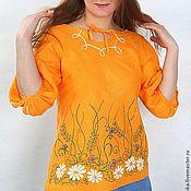 Одежда ручной работы. Ярмарка Мастеров - ручная работа Блузка оранжевая с полевыми цветами. Handmade.