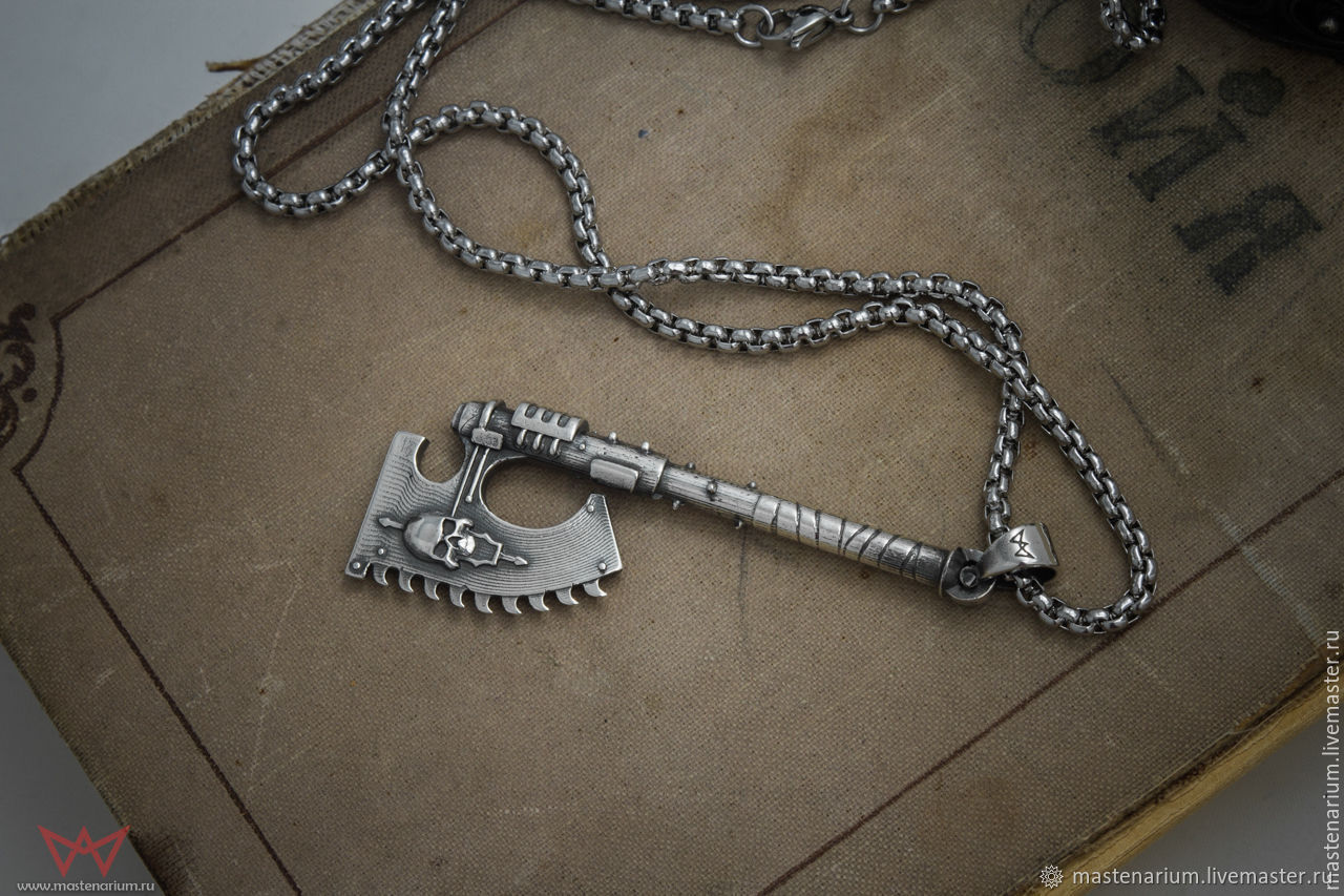 Chain axe pendant. Warhammer 40,000. brass silver Nickel silver, Pendant, Moscow,  Фото №1