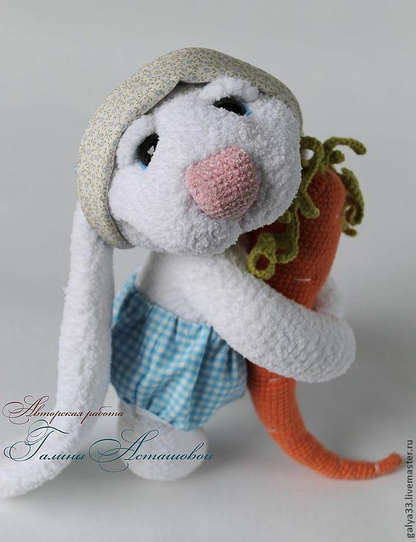 вязаная игрушка заяц улыбашка купить в интернет магазине на
