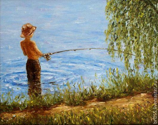 Пейзаж ручной работы. Ярмарка Мастеров - ручная работа. Купить Картина маслом Ловись рыбка большая и маленькая. Handmade.
